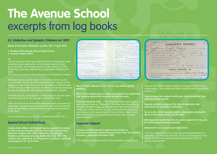the avenue school excerpts from log books autism berkshire