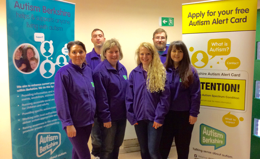Members of the Autism Berkshire team at a recent session of the Slough youth group, with CEO Jane Stanford-Beale and group leader Rebecca Hill front, centre